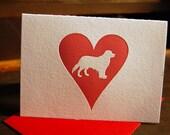 Heart: Golden Retriever, letterpress card