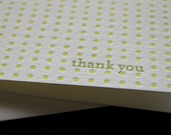 Letterpress greeting card, thank you in green and yellow