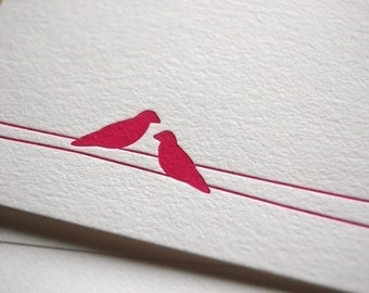 Love birds, letterpress card