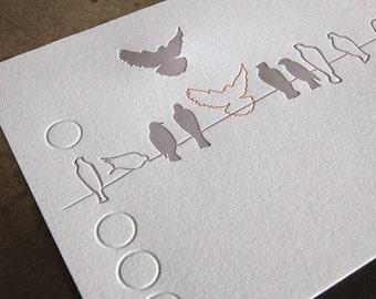 Joining, limited edition bird letterpress print