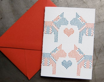 Dala Love - Letterpress cross stitch card