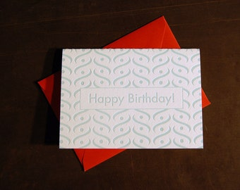 Birthday Card blue mid-century pattern, letterpress card