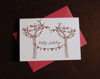 Birthday Trees with Banner, letterpress card
