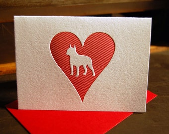 Heart: Boston Terrier, single letterpress card
