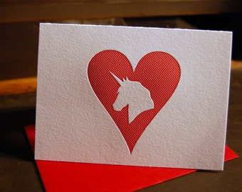 Heart: Unicorn, single letterpress card