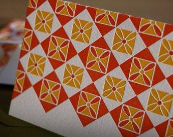 Letterpress mid-century modern card No. 9