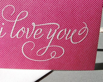 I Love You Pinstripe, single letterpress card