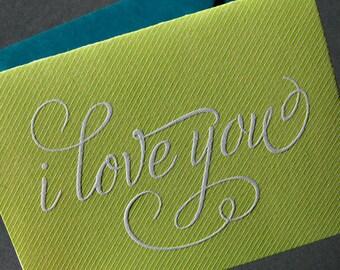 I Love You, green pinstripe, letterpress card
