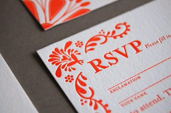 Mexican Tile - letterpress wedding invitation