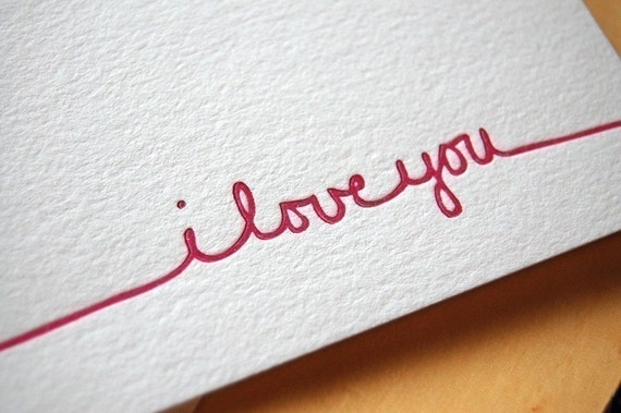 I love you letterpressed card - Black and white love pictures ...