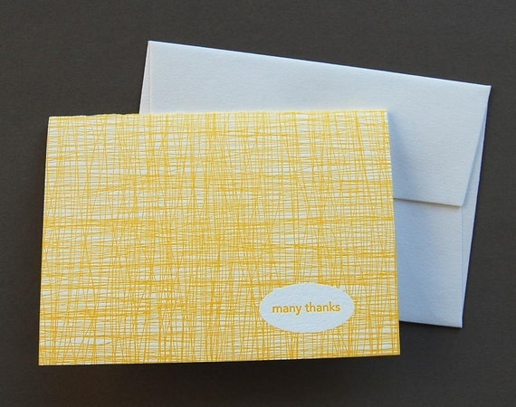 many thanks yellow, single letterpress card