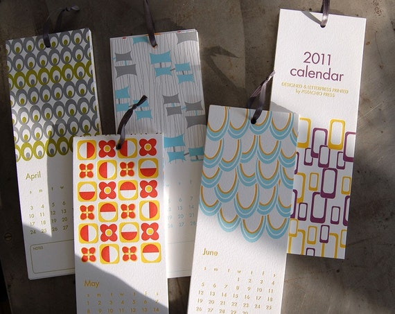 Mid-Century Modern 2011 letterpress wall calendar (with free card)