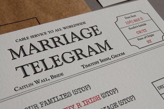Telegram Wedding Invitation - Letterpress