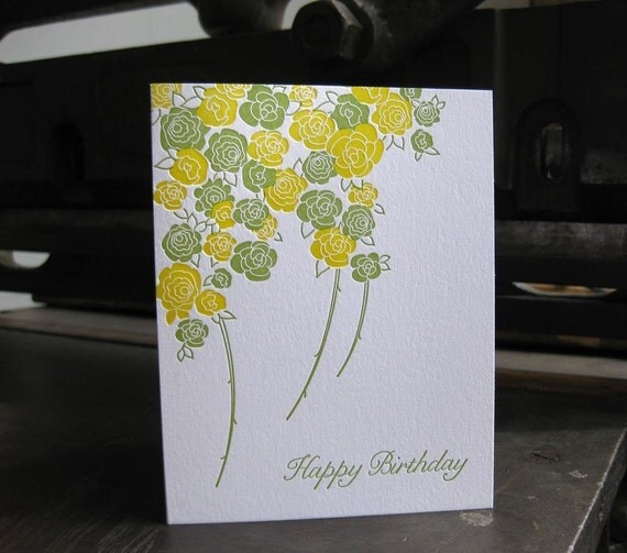 happy birthday roses, letterpress card