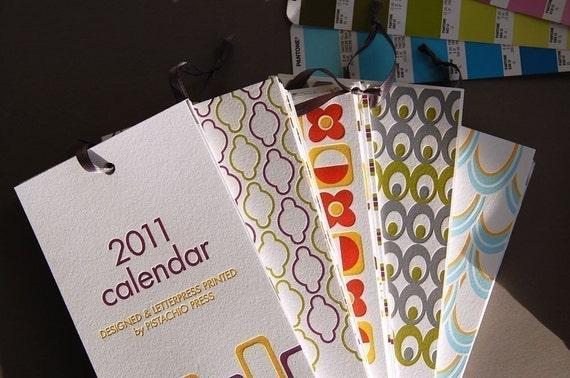 Mid-Century Modern 2011 letterpress wall calendar