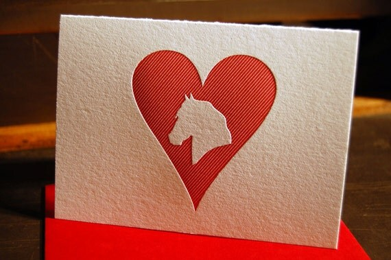 Heart: Horse, letterpress card