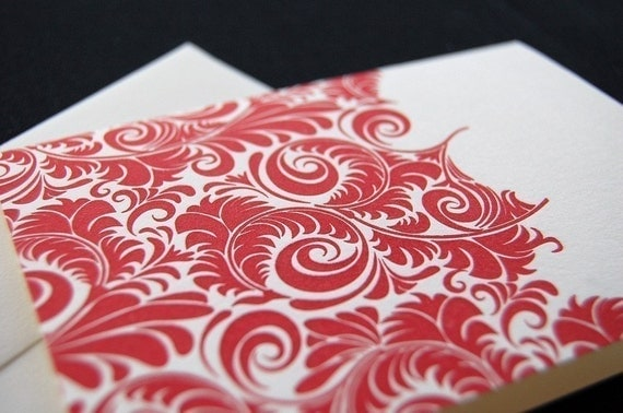 Beautiful red pattern, letterpress greeting card SET