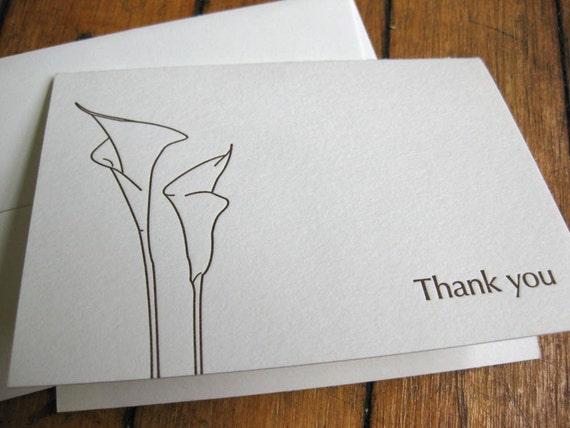 Calla Lily thank you, letterpress card
