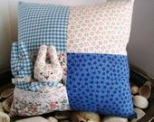 Bunny Pocket Pillow-Sale-Shabby-Cottage-Easter-Patch Work