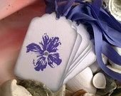 Tags-Flowers-Shabby-Cottage Style-Periwinkle-Silver