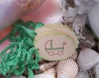 Gift Tag-Baby-Neutral-Shower Favor or wish-Light Green-Carriage