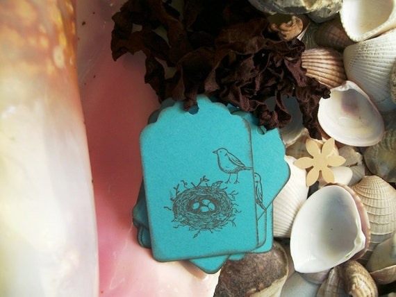 Tags-Bird-Nest-Nature-Shabby-Cottage Style-Aqua Blue and Brown