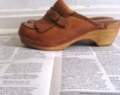 Vintage 70s Brown Braided Leather Fringe Tongue Flap Clog Shoes with Buckles 7
