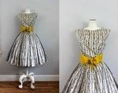 1950s 60s Gray & Mustard Yellow Skirt and Blouse Dress Set SM
