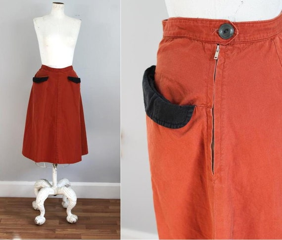 1940s RUST soft cotton tailored skirt - xs