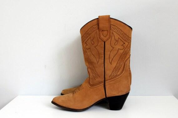 Vintage brown western rodeo boots wood heel -8