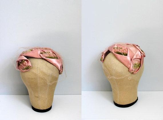 1950s Pink LEAF glitter Cesar turban fascinator hat