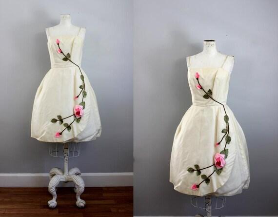 1950s Rose Vine Romantic Party Dress XS