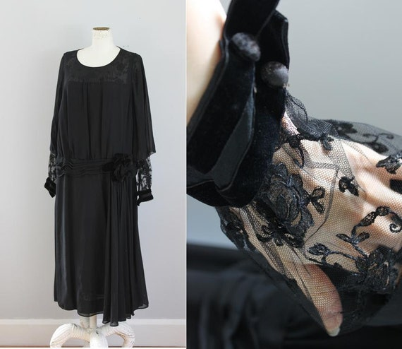 1920s Black Lace Chiffon Flapper Dress M