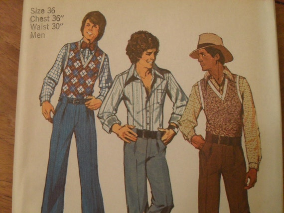 vintage Simplicity 5881 Pattern -  Men's Pattern to make pants, vest and shirt from the 1970s