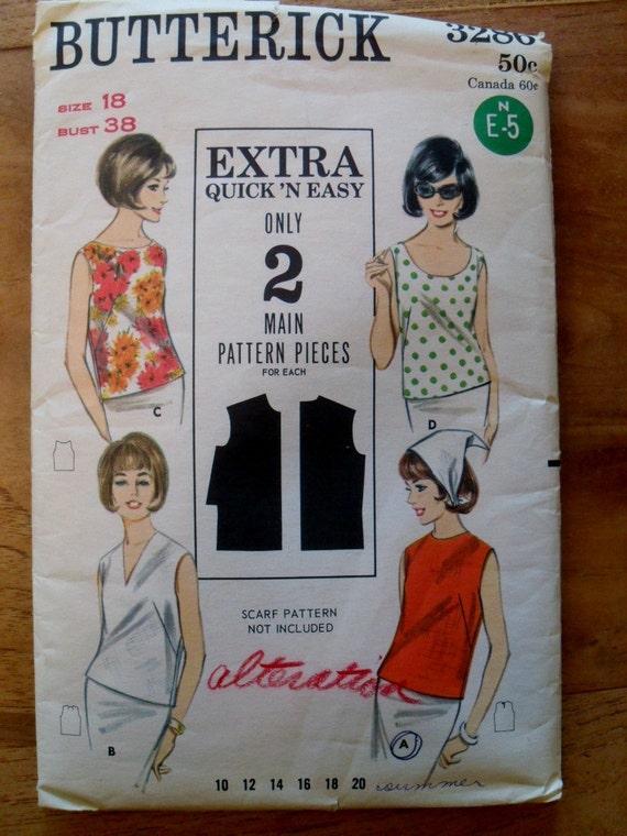 Vintage Butterick 3286 Pattern for Misses' Sleeveless Blouse- Bust 38