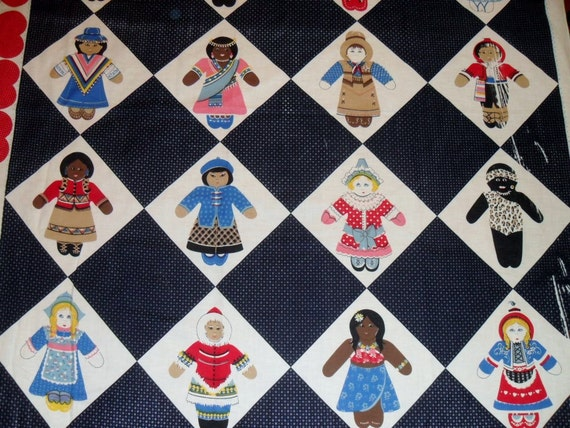 vintage cotton fabric- Concord's Dolls from All Nations
