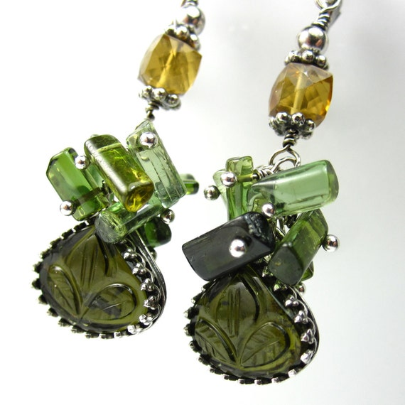 Forest Drop Earrings - Carved Tourmaline