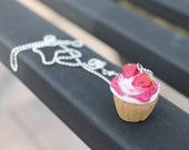 Cupcake with Vanilla Frosting and Strawberry Toppings Necklace v.2