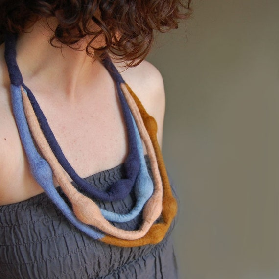 Orange-Blue Multi Strand Felt Necklace