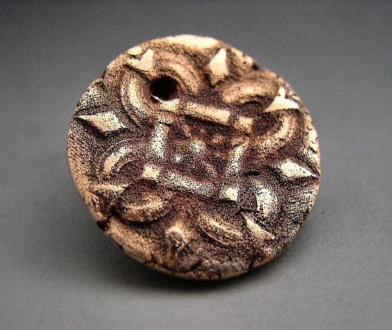 Naos Glass - Pirate Treasure Medallion - Handmade Bronze Clay Component Pendant Charm Rustic Finish - SRAJD