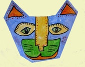 Folk Art Cat Sculpture Paper Mache