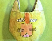 Handmade Unique Cat Purse Hand Painted One of a Kind Bag from Recycled Materials