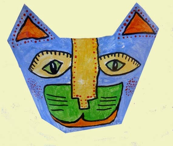 Folk Art Cat Sculpture Paper Mache