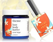 Perfume Beauty gift set - Tropical fruit floral perfume - Coral Skye Perfume and Luxe Body Butter Cream Set.  Channel your inner Gidget.