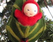 Leafbuddy Necklace, Waldorf style Wee Baby in needlefelted Leafbed, Adorable