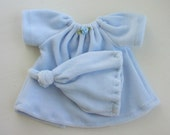 Shabby Chic Blue Velour Nightgown, Sweet Dress and Velour Hat for your Waldorf style Doll