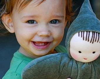 12 inch Waldorf Toy, Waldorf style Green Elf Doll