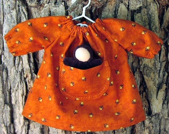 10 - 12 inch waldorf doll clothes, Acorn Fall Dress, Pocketdress with Wee Pocket doll - Waldorf Toy