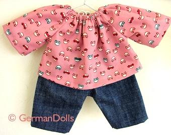 Waldorf doll clothes germandolls 10 -12 inch doll clothes Waldorf toy  pink cars Steiner doll cloth doll  Waldorf doll gift for her