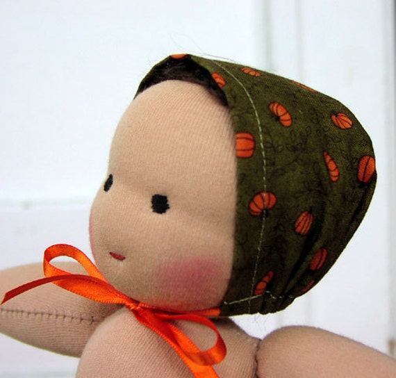 Waldorf Doll Clothes - 12 inch Fall bonnet  hat -  waldorf toy